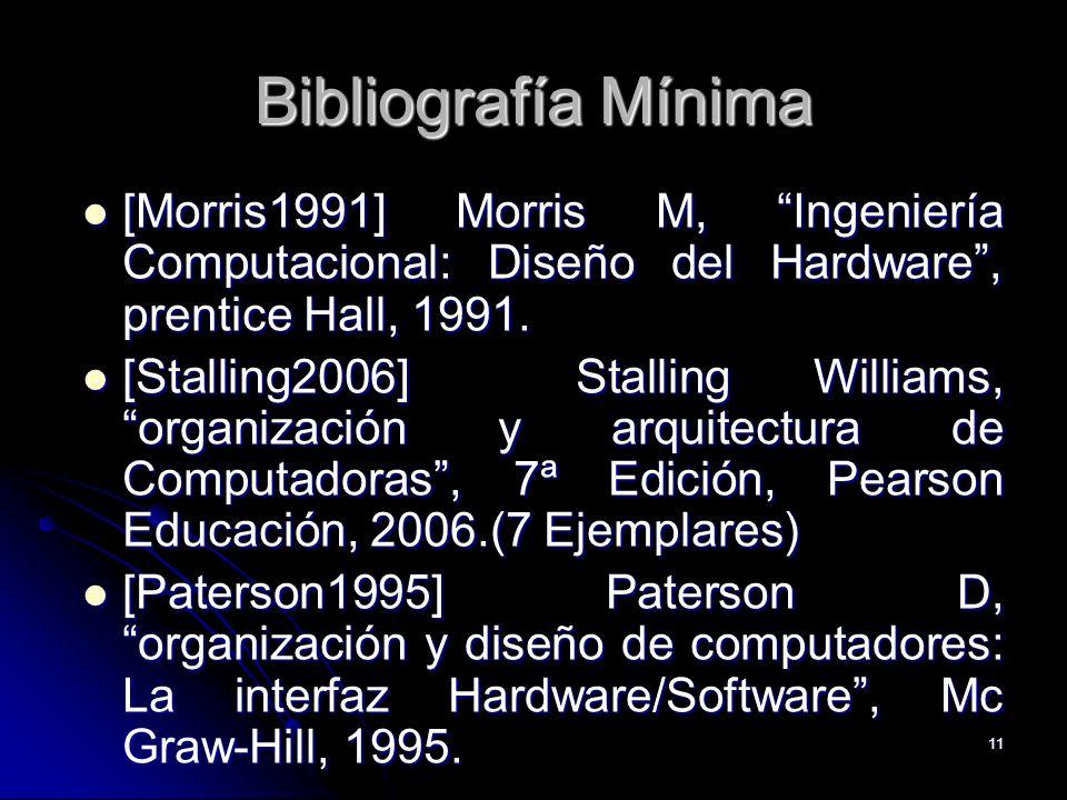 Bibliografía Mínima [Morris1991] Morris M, Ingeniería Computacional: Diseño del Hardware , prentice Hall, 1991.